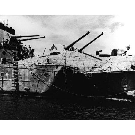 LAMINATED POSTER The Royal Australian Navy light cruiser HMAS Hobart (D63) at Espiritu Santo, New Hebrides, on 23 Jul Poster Print 24 x (Santos Mahogany Light Laminate)