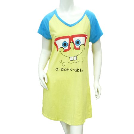 Nickelodeon Womens Yellow Sponge Bob Sleep Shirt Lightweight Nightgown Large](Spongebob Robe)
