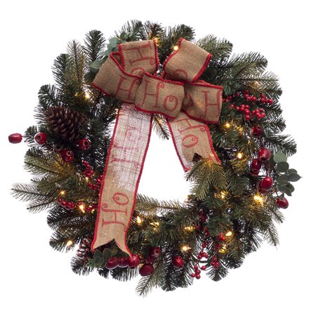 Puleo International 24 inch Prelit Decorated wreath with 35 Clear Incandescent Lights](Wreath Decorating Ideas)