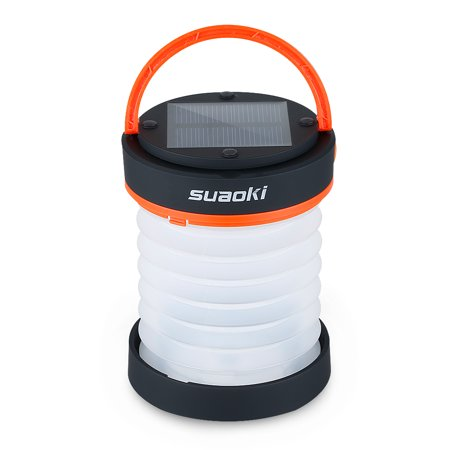 Suaoki Led Camping Lantern Lights Rechargeable Battery (Powered by Solar Panel and USB Charging) Collapsible Flashlight for Outdoor Hiking Tent Garden (Emergency Charger for Phone, Water-Resistant) ()
