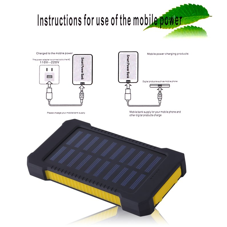 NEW Upgraded Portable Solar Battery Charger Dual USB Solar Power Bank External Battery For Mobile Phone 300000mAh Mobile Pover Bank(Yellow)