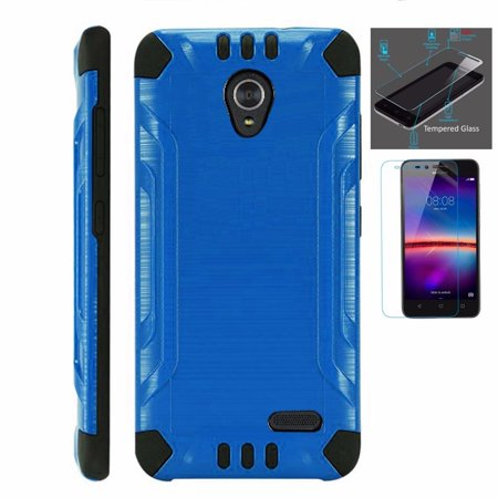 For Cricket Wave Case + Tempered Glass Dual Layer Brushed Texture Hybrid Combat Phone Cover (Blue/Black)