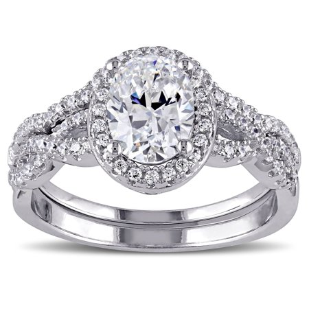 Sterling Silver Oval and Round-cut Cubic Zirconia Halo Bridal Ring set - White