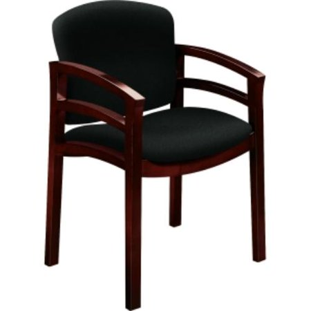 Hon 2112 Double Rail Mahogany Wood Guest Chair - Black Seat - Black Back - Hardwood Frame - 23.5