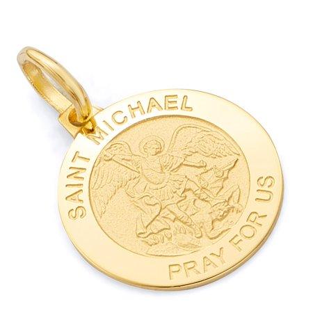 Wellingsale 14K Yellow Gold Polished Religious Saint Michael Medallion