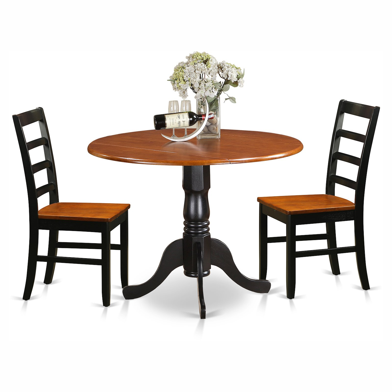 East West Furniture Dublin 3 Piece Round Dining Table Set with Parfait Wooden Seat Chairs