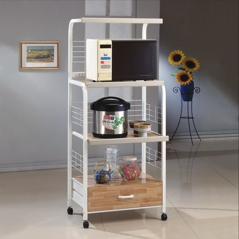 Kitchen shelf on casters white