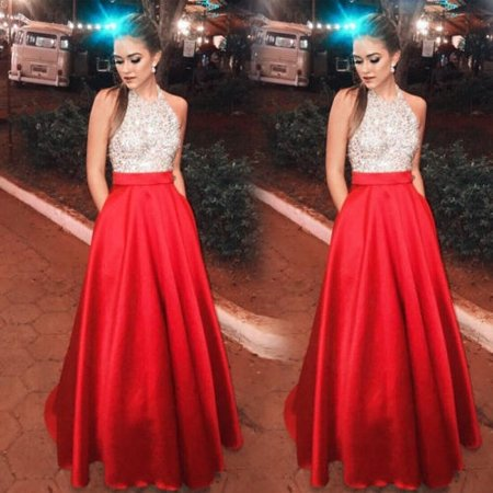 Fashion Elegant Sequin Patchwork Sleeveless Halter Neck Formal Party Ball Gown Prom Bridesmaid Long Dress