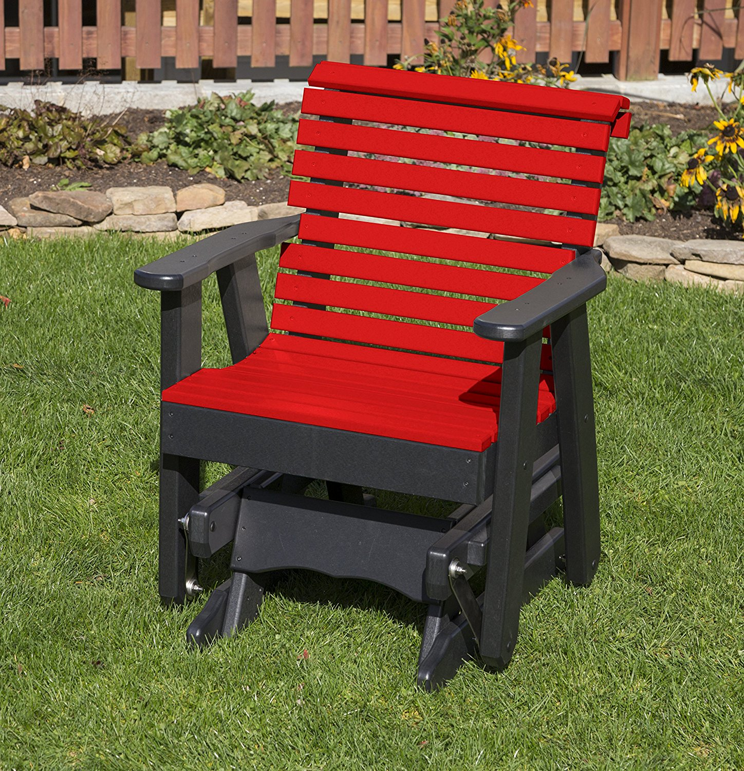 Outdoor Patio Garden Lawn Exterior Bright Red Finish Poly Lumber Roll Back 2 Ft Glider Everlasting Amish Crafted