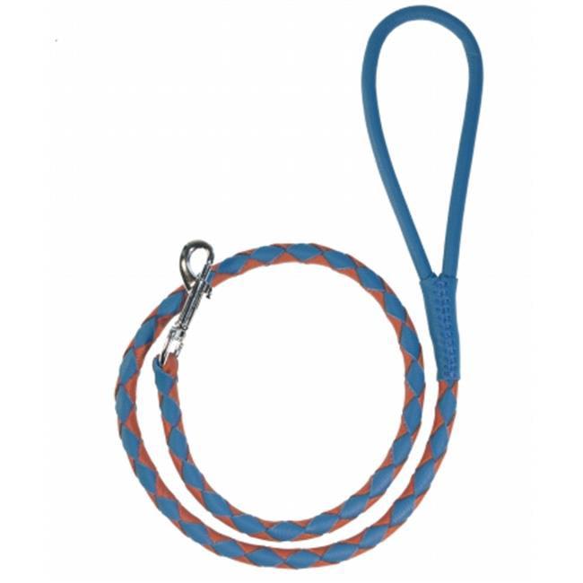 Round Braided Leather Leash, Royal Blue & Orange - 0.25 W x 48 L in.