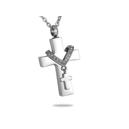 Premium Collet Cross Cremation Jewelry Keepsake Memorial Urn Ash Holder - Wooden Cross Necklaces