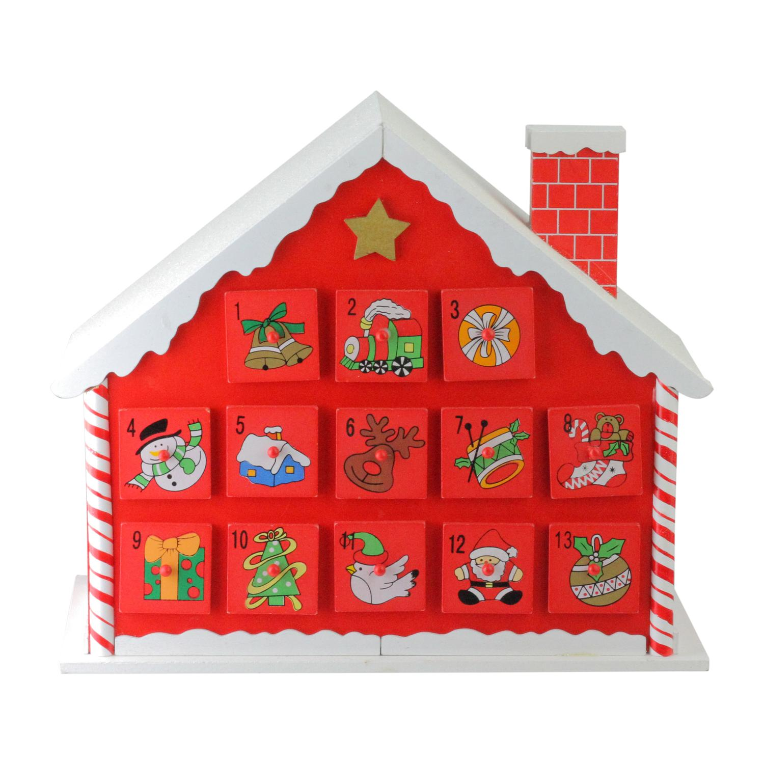"""10.25"""" Red and White Candy Cane Advent House with Chimney..."""