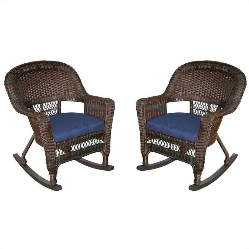 Jeco Wicker Chair in Espresso with Blue Cushion (Set of 4)
