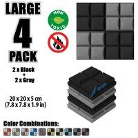 "Arrowzoom New Black and Gray 7.8"" x 7.8"" x 1.9"" Hemisphere Grid Tile Acoustic Studio Sound Absorption Foam, 4-pcs"