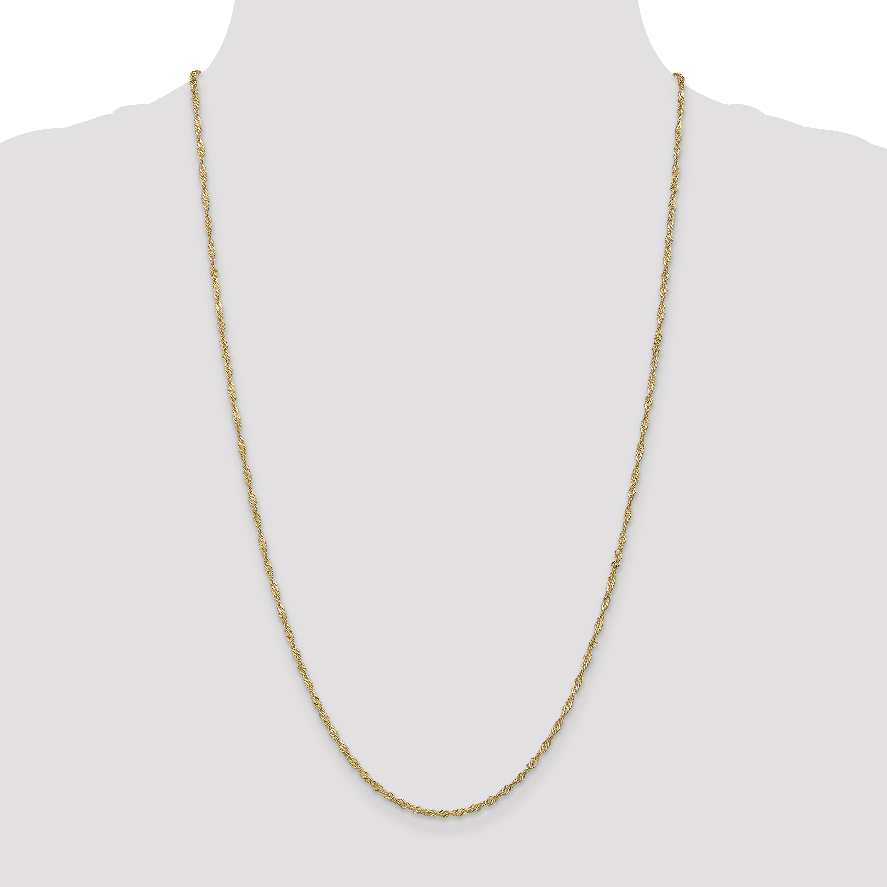 14K Yellow Gold 1.70mm Singapore Chain - image 1 of 5