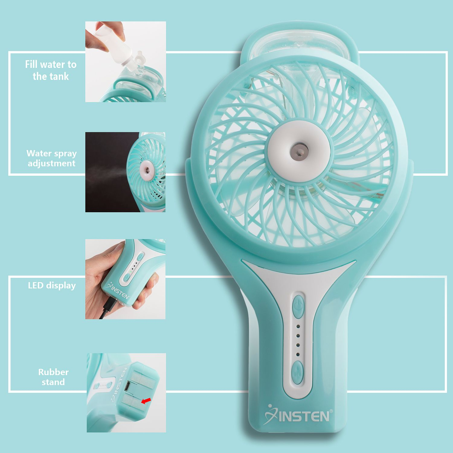 Insten Portable Electric Water Misting Fan - Silent Personal Mini Handheld Cooling Mister Humidifier Cooler (3 Speed & 2 Spray mode LED)(Stable Standing Base)(Includes Battery Charging USB Cable) Blue - image 4 de 6