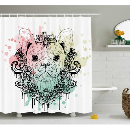 Animal Shower Curtain French Bulldog With Floral Wreath On Brushstroke Watercolor Print Fabric Bathroom