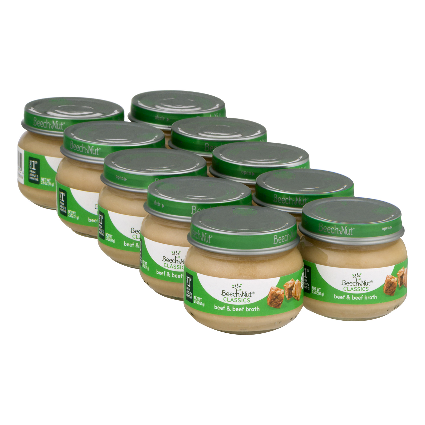 10 Jars Beech Nut Baby Food Jar Stage 1 Beef Amp Beef