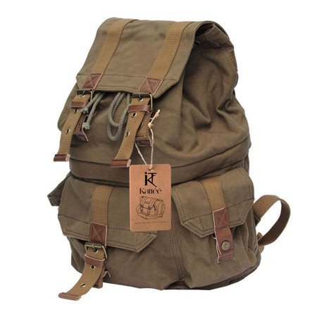 Camera Rucksack - Kattee Canvas DSLR SLR Camera Backpack Rucksack Bag for Sony Canon Nikon (Army Green)