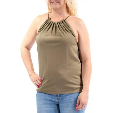 RALPH LAUREN Womens Green Beaded Sleeveless Halter Top Size: L