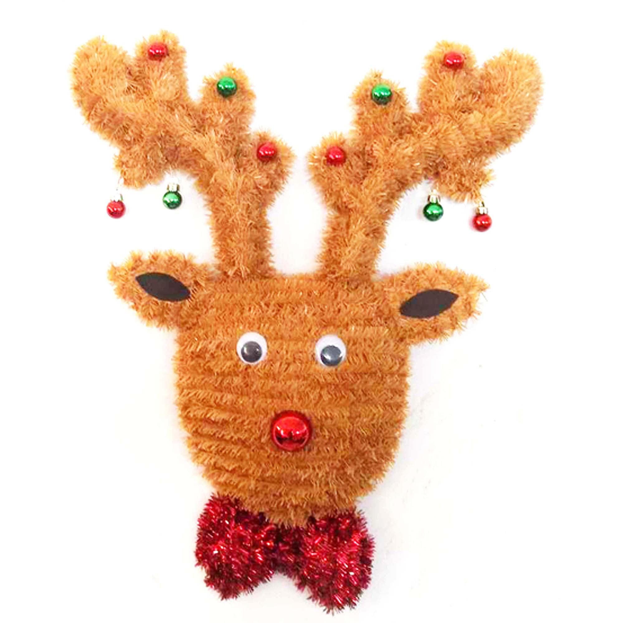"21"" 2D Tinsel Reindeer Wreath Decoration"