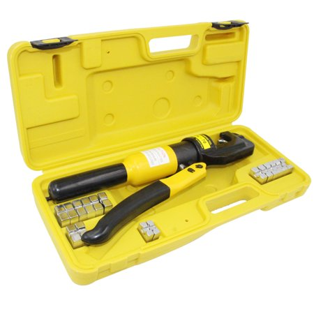 Hydraulic Wire Battery Cable Lug Terminal Crimper Crimping Tool, 9 Dies, 10 Ton (Crimper Hex Die)