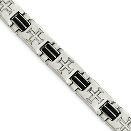 Stainless Steel Polished Black Rubber Cross Adjustable Bracelet 8.5in - image 2 of 2