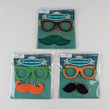 ST PATRICK DISGUISE PAPER/FOAM GLASSES W/DANGLE 'STACHE 3AST, Case Pack of 48