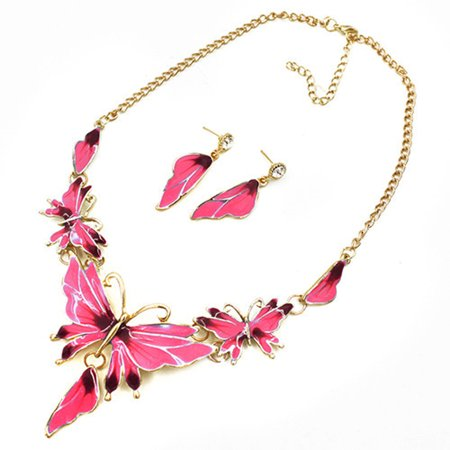 Pink Butterfly Necklace Earrings Set Pink with Gold Trim Tarnish Resistant Jewelry, BFS-02 ()