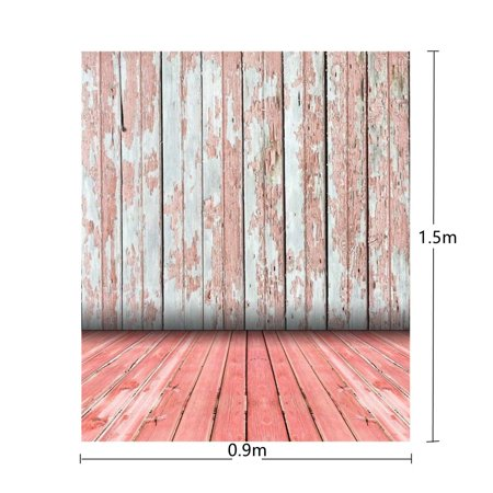 3x5ft Vinyl Photography Backdrop Background (Retro Red Wooden Floor Wall) For Camera Studio Photo Props