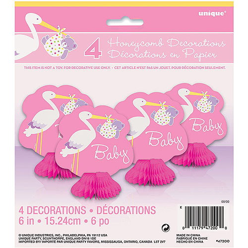 Pink Stork Baby Shower Mini Honeycomb Decorations, 4pk