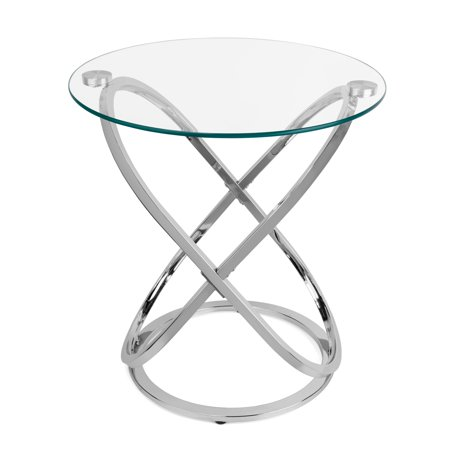 Danya B. Galaxy Chrome and Tempered Glass Round End Table ()