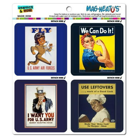 Graphics and More World War II Posters Rose The Riveter Uncle Sam Army Mag-Neato's Car Refrigerator Locker Vinyl Magnet