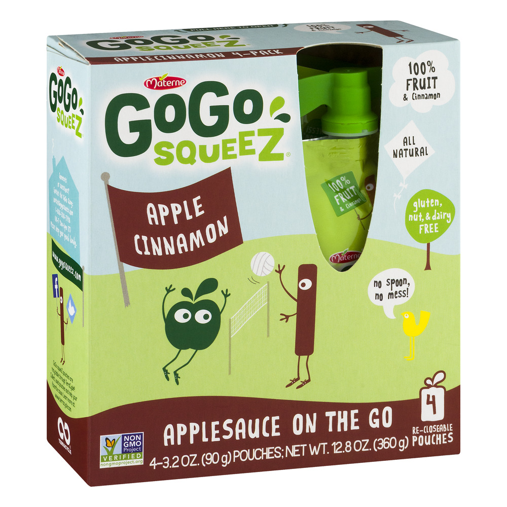 (3 Pack) GoGo Squeez Applesauce On The Go Apple Cinnamon - 4 CT
