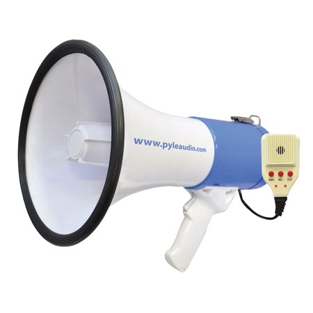 50 Watt Professional Megaphone - Piezo Dynamic, Battery, Record, Siren and Talk Modes & Aux-Input for All IOS/MP3 Players