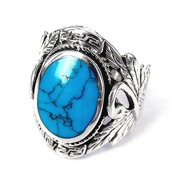 Aeravida Handmade Sterling Silver Beautiful Couple Swan Oval Turquoise Ring (Thailand)