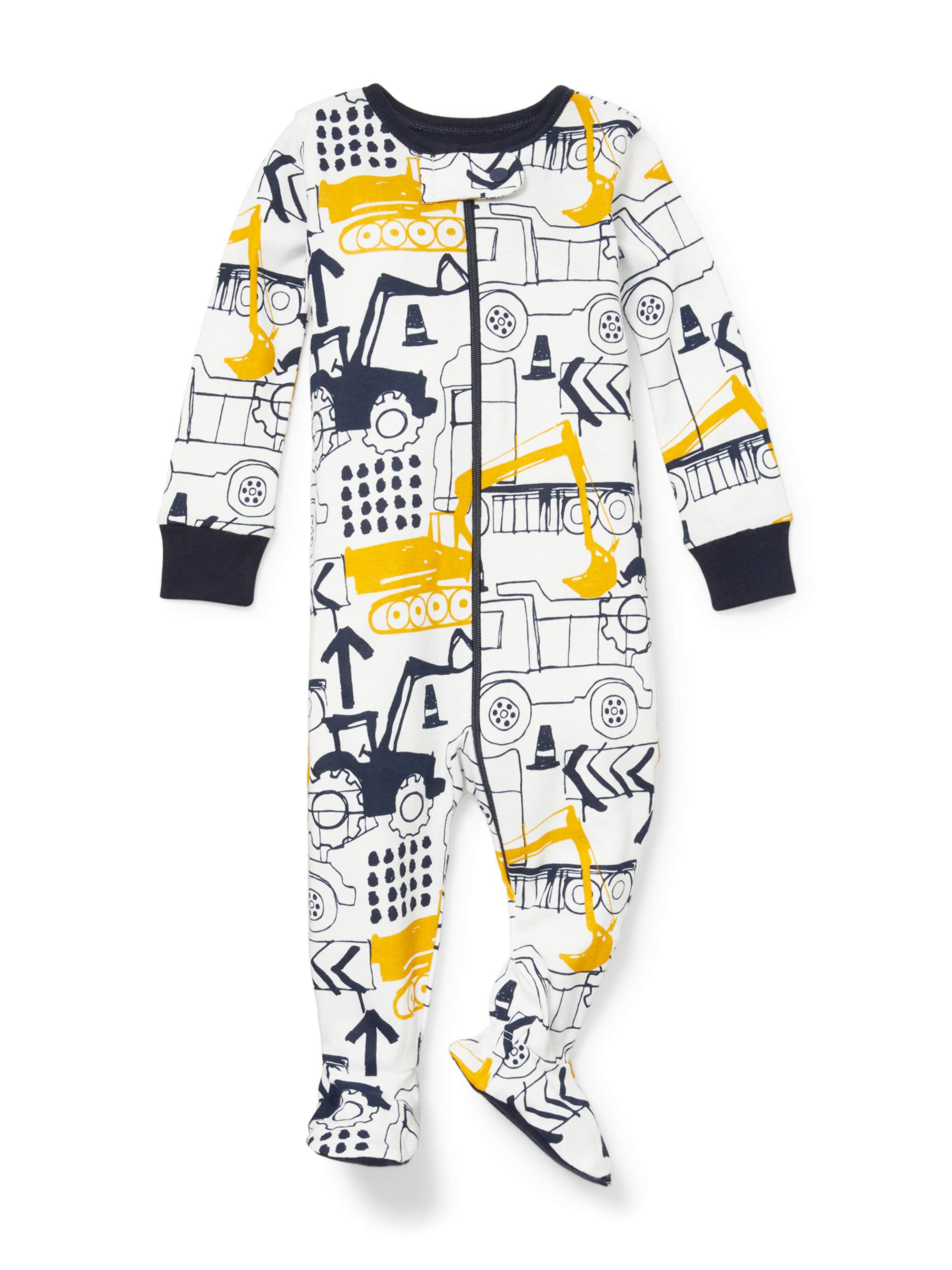 Long Sleeve Construction Print Snug-Fit Footed Stretchie (Baby Boys & Toddler Boys)