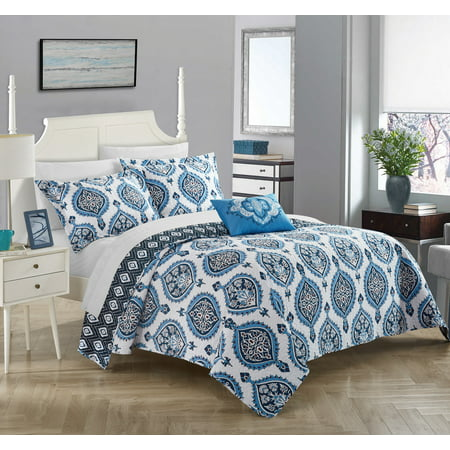 Chic Home 4-Piece Mulberry 100% Cotton 200 Thread Count Bohemian Medallion Inspired Printed REVERSIBLE King Quilt Set Blue (Mulberry Home Collection Halloween)