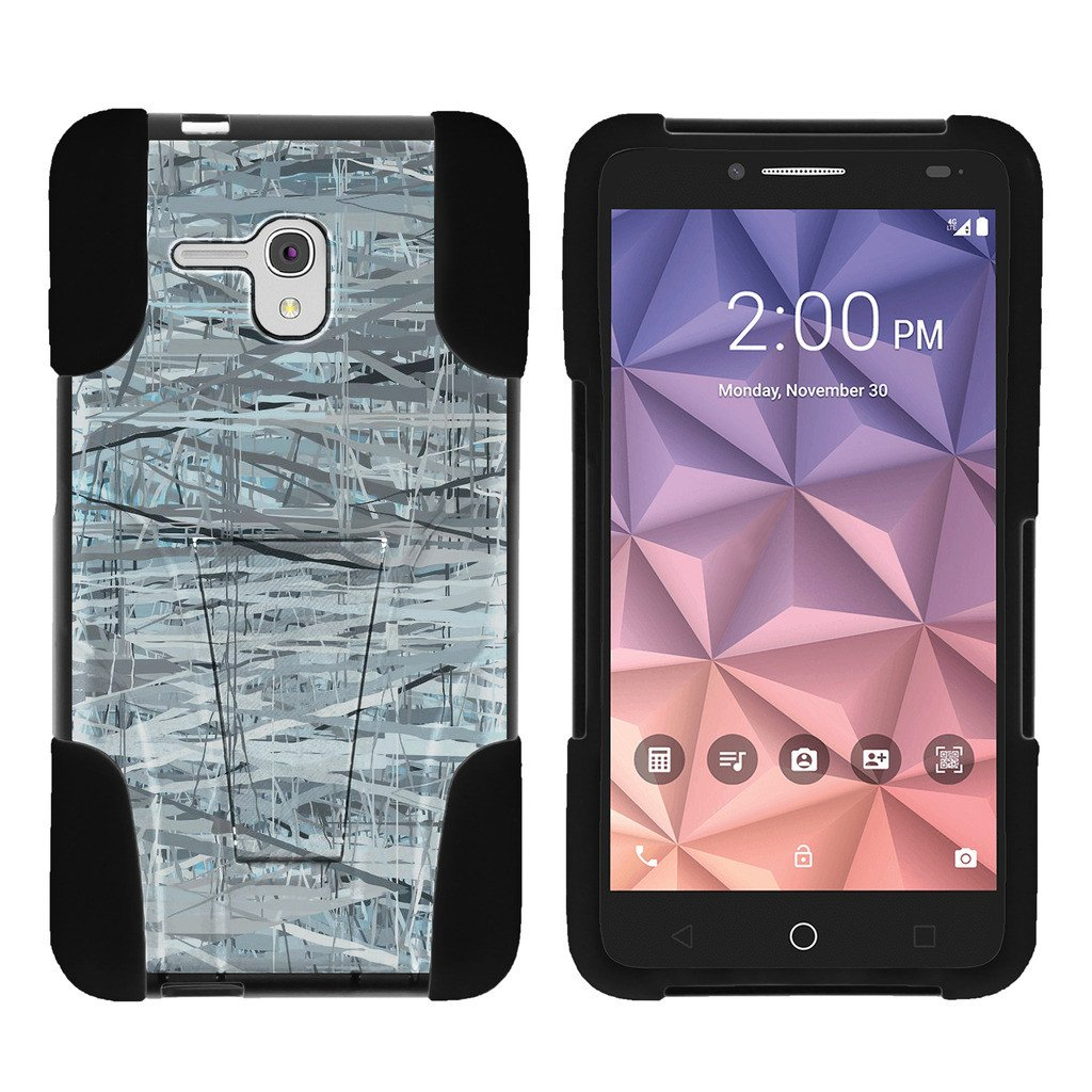 Alcatel One Touch Fierce XL 5054N STRIKE IMPACT Dual Layer Shock Absorbing Case with Built-In Kickstand - Shattering Winter