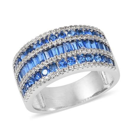 Silvertone Cubic Zircon Blue White Cubic Zirconia CZ Anniversary Ring for Women Cttw 2.1