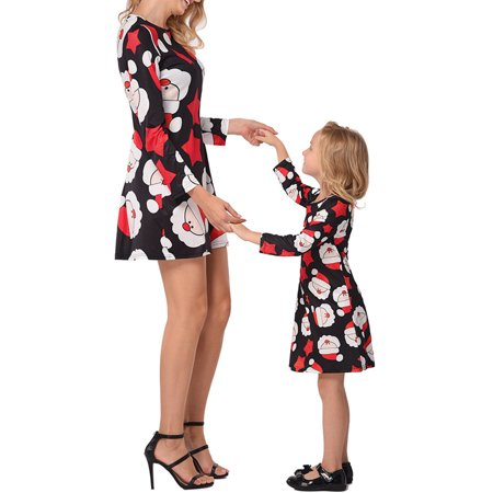 Ustyle Mother Kids Matching Outfits Long Sleeve Dress Christmas Pringting Short Dress - image 9 of 9