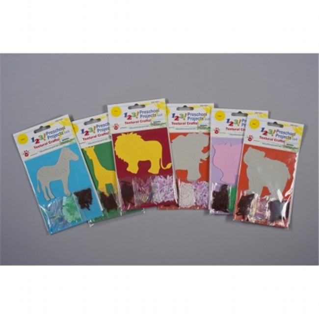 1-2-3 Textured zoopk007 Zoo Animals - 6 Pack