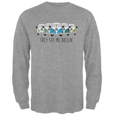 Hippie Van They See Me Rollin' Bus Camper Mens Long Sleeve T Shirt - Male Hippie Clothes
