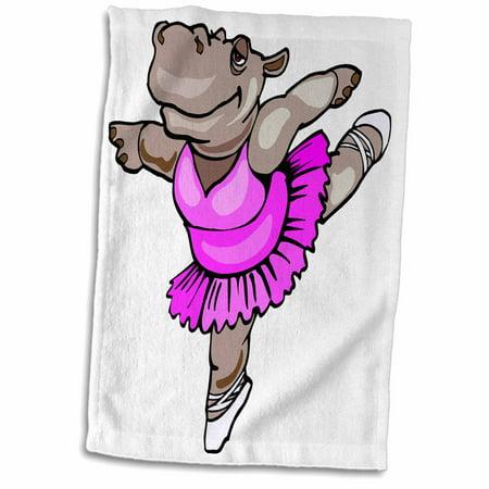 3dRose Hippo Ballet Dancer - Towel, 15 by 22-inch - Fantasia Hippo Ballet