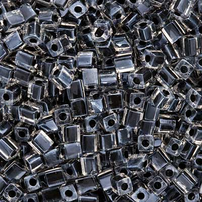 Miyuki 4mm Glass Cube Beads Black Lined Crystal #1106 10 Grams