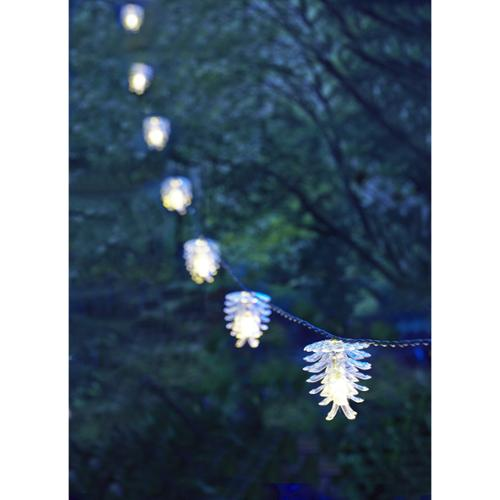 "Moonrays Solar Pinecone String Lights - 1.8"" Height - 1.8"" Width - Led Bulb - Plastic - String-mountable - Clear - For Yard, Deck, Outdoor, Deck Railing, Stairway, Umbrella, Porch, Patio (91141_2)"