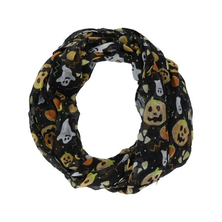 Size one size Women's Halloween Holiday Pumpkin and Ghost Infinity Loop Scarf, Black (Easy Scary Halloween Pumpkin Carving Patterns)