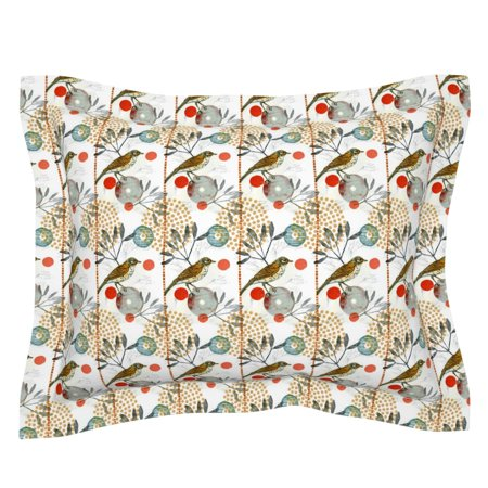 Birds And Botanicals Dots Circles Geo Creativebug Nature Pillow Sham by Roostery