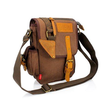 Men's Military Canvas Messenger Shoulder Sling school Belt Crossbody Travel Hiking Bag Satchel