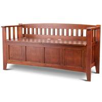 GHP 331-Lbs Capacity Brown P2 MDF Solid Pine Wood Outdoor Split-side Storage Bench